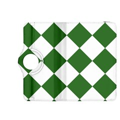 Harlequin Diamond Green White Kindle Fire Hdx 8 9  Flip 360 Case by CrypticFragmentsColors