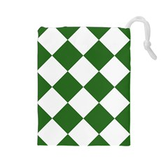 Harlequin Diamond Green White Drawstring Pouch (large) by CrypticFragmentsColors