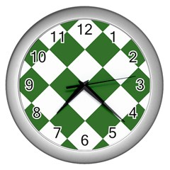 Harlequin Diamond Green White Wall Clock (silver) by CrypticFragmentsColors