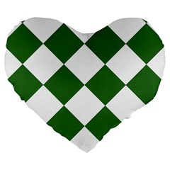 Harlequin Diamond Green White 19  Premium Heart Shape Cushion by CrypticFragmentsColors
