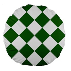 Harlequin Diamond Green White 18  Premium Flano Round Cushion  by CrypticFragmentsColors