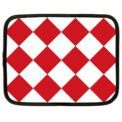 Harlequin Diamond Red White Netbook Sleeve (large) by CrypticFragmentsColors
