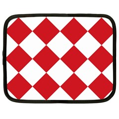 Harlequin Diamond Red White Netbook Sleeve (xxl) by CrypticFragmentsColors