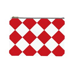 Harlequin Diamond Red White Cosmetic Bag (large) by CrypticFragmentsColors