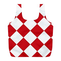 Harlequin Diamond Red White Reusable Bag (l) by CrypticFragmentsColors