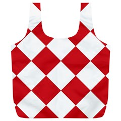 Harlequin Diamond Red White Reusable Bag (xl) by CrypticFragmentsColors