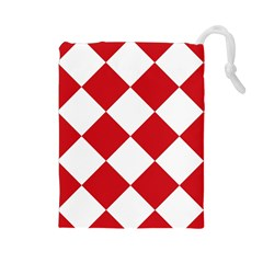 Harlequin Diamond Red White Drawstring Pouch (large) by CrypticFragmentsColors