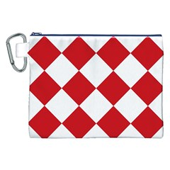 Harlequin Diamond Red White Canvas Cosmetic Bag (xxl) by CrypticFragmentsColors