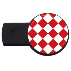 Harlequin Diamond Red White 2GB USB Flash Drive (Round) by CrypticFragmentsColors