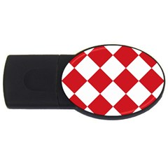 Harlequin Diamond Red White 2gb Usb Flash Drive (oval) by CrypticFragmentsColors