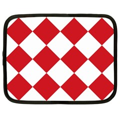 Harlequin Diamond Red White Netbook Sleeve (xl) by CrypticFragmentsColors