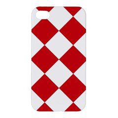 Harlequin Diamond Red White Apple Iphone 4/4s Hardshell Case by CrypticFragmentsColors