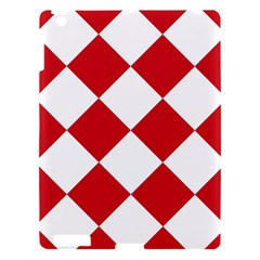 Harlequin Diamond Red White Apple Ipad 3/4 Hardshell Case by CrypticFragmentsColors