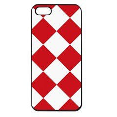 Harlequin Diamond Red White Apple Iphone 5 Seamless Case (black) by CrypticFragmentsColors