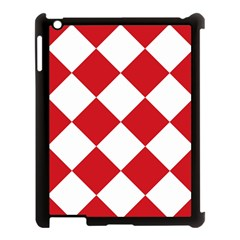 Harlequin Diamond Red White Apple Ipad 3/4 Case (black) by CrypticFragmentsColors