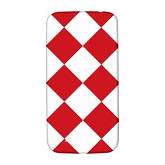 Harlequin Diamond Red White Samsung Galaxy S4 I9500/i9505  Hardshell Back Case by CrypticFragmentsColors