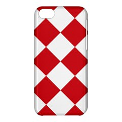 Harlequin Diamond Red White Apple Iphone 5c Hardshell Case by CrypticFragmentsColors