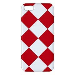 Harlequin Diamond Red White Iphone 5s Premium Hardshell Case by CrypticFragmentsColors