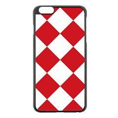 Harlequin Diamond Red White Apple Iphone 6 Plus Black Enamel Case by CrypticFragmentsColors