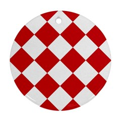 Harlequin Diamond Red White Round Ornament by CrypticFragmentsColors