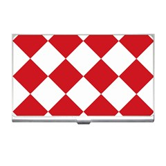 Harlequin Diamond Red White Business Card Holder by CrypticFragmentsColors