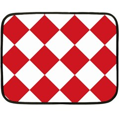 Harlequin Diamond Red White Mini Fleece Blanket (two Sided) by CrypticFragmentsColors