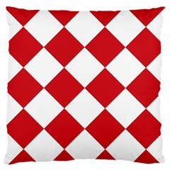 Harlequin Diamond Red White Standard Flano Cushion Case (one Side)