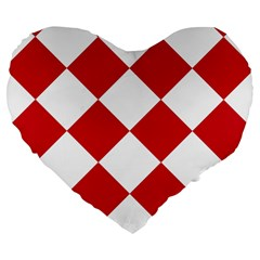 Harlequin Diamond Red White 19  Premium Flano Heart Shape Cushion by CrypticFragmentsColors