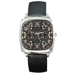 Victorian Style Grunge Pattern Square Leather Watch by dflcprints
