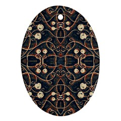 Victorian Style Grunge Pattern Oval Ornament (two Sides) by dflcprints
