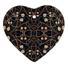 Victorian Style Grunge Pattern Heart Ornament (two Sides) by dflcprints