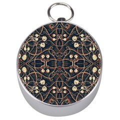 Victorian Style Grunge Pattern Silver Compass by dflcprints