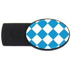 Harlequin Diamond Argyle Turquoise Blue White 2gb Usb Flash Drive (oval) by CrypticFragmentsColors