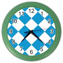Harlequin Diamond Argyle Turquoise Blue White Wall Clock (color)