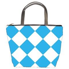 Harlequin Diamond Argyle Turquoise Blue White Bucket Handbag by CrypticFragmentsColors