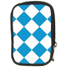 Harlequin Diamond Argyle Turquoise Blue White Compact Camera Leather Case by CrypticFragmentsColors