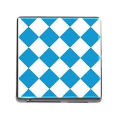 Harlequin Diamond Argyle Turquoise Blue White Memory Card Reader With Storage (square)