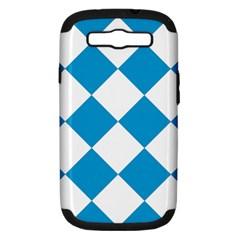 Harlequin Diamond Argyle Turquoise Blue White Samsung Galaxy S III Hardshell Case (PC+Silicone) by CrypticFragmentsColors