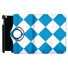 Harlequin Diamond Argyle Turquoise Blue White Apple Ipad 3/4 Flip 360 Case by CrypticFragmentsColors