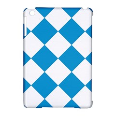 Harlequin Diamond Argyle Turquoise Blue White Apple Ipad Mini Hardshell Case (compatible With Smart Cover) by CrypticFragmentsColors