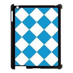 Harlequin Diamond Argyle Turquoise Blue White Apple Ipad 3/4 Case (black) by CrypticFragmentsColors