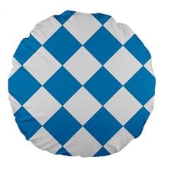 Harlequin Diamond Argyle Turquoise Blue White 18  Premium Round Cushion  by CrypticFragmentsColors