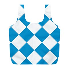 Harlequin Diamond Argyle Turquoise Blue White Reusable Bag (l) by CrypticFragmentsColors
