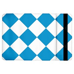 Harlequin Diamond Argyle Turquoise Blue White Apple iPad Air Flip Case by CrypticFragmentsColors