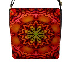 Florescent Abstract Flap Closure Messenger Bag (large)