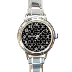 Geometric Abstract Pattern Futuristic Design  Round Italian Charm Watch by dflcprints