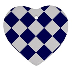 Harlequin Diamond Argyle Sports Team Colors Navy Blue Silver Heart Ornament by CrypticFragmentsColors