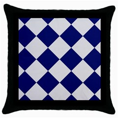 Harlequin Diamond Argyle Sports Team Colors Navy Blue Silver Black Throw Pillow Case