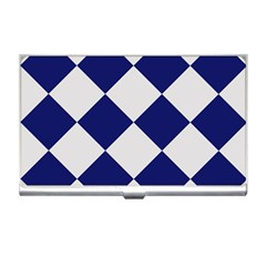 Harlequin Diamond Argyle Sports Team Colors Navy Blue Silver Business Card Holder by CrypticFragmentsColors