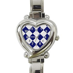 Harlequin Diamond Argyle Sports Team Colors Navy Blue Silver Heart Italian Charm Watch  by CrypticFragmentsColors